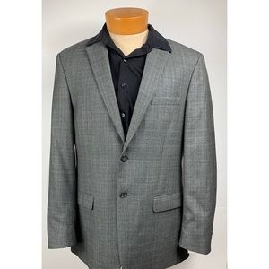 Men's Gray Plaid Jacket 100% Wool Blazer